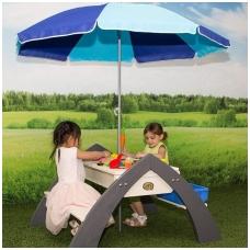 Daugiafunkcinis medinis stalo- suoliukų komplektas  su skėčiu NS A031.023.00