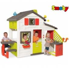 Didelis vaikiškas plastikinis namelis su virtuve bei suoliuku 810200