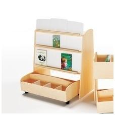 Dvipusės ekspozicinės bibliotekos lentynos su mobiliu konteineriu rinkinys, NS1484