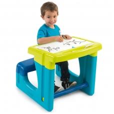 Edukacinis vaikiškas staliukas su suoliuku rašymui