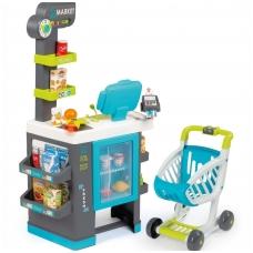 Plastikinė vaikiška parduotuvė su elektronine kasa bei šaldytuvu su 39 elementais. NS 350218