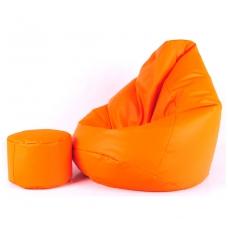 Sėdmaišis XXL Oranžinis+ Pufas Dovanų ( Kodura )
