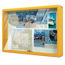 Skelbimų lenta su stiklu, geltona, BM D078206