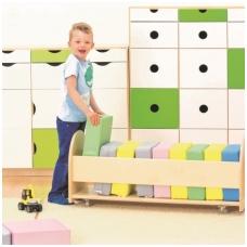 Spalvotų pagalvių- pufų rinkinys su stovu pasteliniu spalvų 6512593K