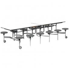 Sudedamas 12 vietis valgyklos stalas su kėdėm