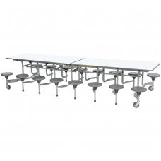 Sudedamas 16 vietis valgyklos stalas su kėdėm