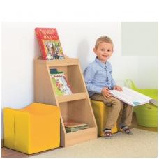 Vaikiškos bibliotekėlės komplektas spintelė+ 2 pufai 6512745+4641342