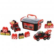 Vaikiškų automobilių bei kaladėlių rinkinys dėžutėje NS 57143